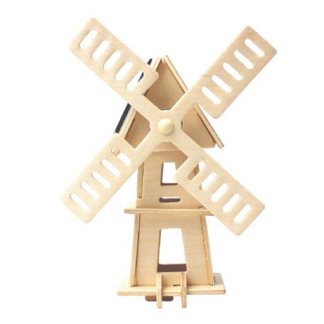 Koottava puinen tuulimylly aurinkopaneelilla Laughing Milla Palapelit
