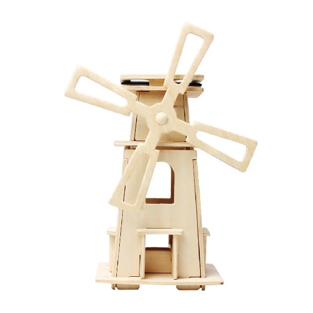 Kooottava puinen tuulimylly aurinkopaneelilla Laughing Milla Palapelit